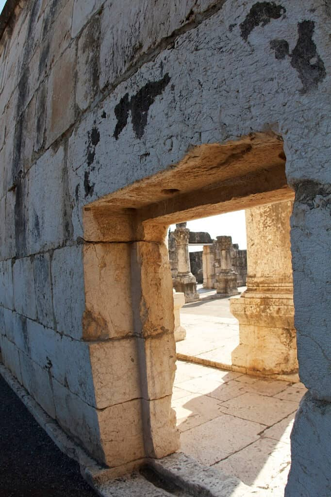 A fourth-century AD synagogue in Capernaum, built from limestone hauled from many miles away.