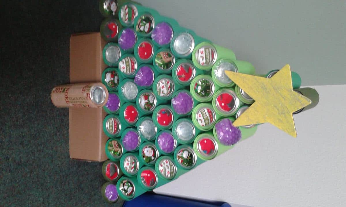 Christmas tree made from cans